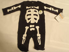Carters Newborn 5-8 Lbs. Skeleton One Piece Cotton Outfit NWT Black Footed