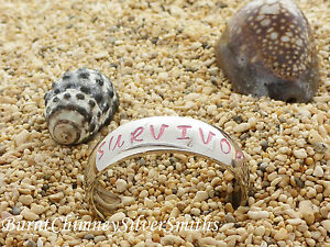 """Stainless Steel Hand Stamped """"Survivor"""" Awareness Ring"""