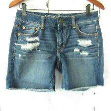 American Eagle Jeans Midi Shorts 00 Denim Distressed Destroyed Frayed Raw Hem
