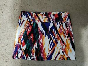 Attyre Womens Skort Multi Color Stretchy Abstract Painted Look  Golf 10 Petite