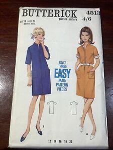 New Vintage BUTTERICK Misses Dress Pattern 4513 Size 14 Uncut