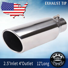 "Exhaust Tip Single Round//Turndown Clamp-on Steel Chrome 1.5/"" In//Out 13/"" Length"