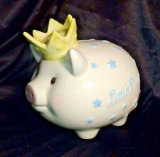 "Mud Pie Little Prince Ceramic Piggy Bank Nursery Decor Baby Boy 6"" x 5.5"""