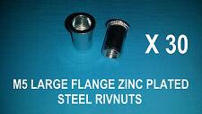 30 X STEEL ZINC PLATED RIVNUTS M5 NUTSERT RIVET NUT LARGE FLANGE NUTSERTS RIVNUT