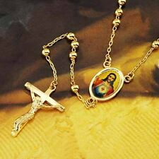 Statement Yellow Gold Filled Rosary Pray Bead God Cross Mens womens Necklace lot