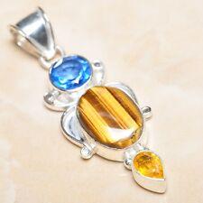 "Handmade Golden Tiger's Eye Gemstone 925 Sterling Silver Pendant 2.25"" #P07206"