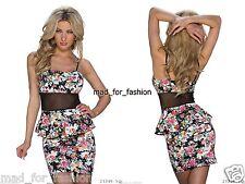 SEXY PEPLO Mini abito in stampa floreale con rete. UK 8/10 EU 36/38