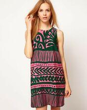 WHISTLES silk green pink print sun dress 6 mosaic print