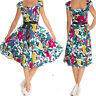 BLUE FLORAL FREYA DRESS by HEARTS & ROSES LONDON ALTERNATIVE VINTAGE RETRO 50's
