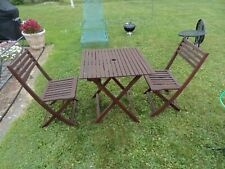 Outdoor 3 Piece Wood Bistro Set Table 2 Chairs Used * Local Pick Up Only *