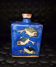Antique Persian Handmade Glazed Pottery Flask Jug