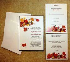 100 Personalized Custom Ivory Fall Panel Pocket Bridal Wedding Invitations Set