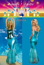 Halloween Women Blue Mermaid Party Fancy Costume Dress Up Sea Princess COS156
