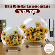 Round  Decorative Glass Dome with Wooden Base Cloche Bell Jar LED Light