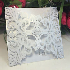 12PCS Laser Cut White Wedding Invitations Day Evening Cards Invites Cards