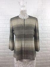 Ming Wang Women's Open Front Cardigan Blazer Sweater Jacket Tan Petite Medium PM