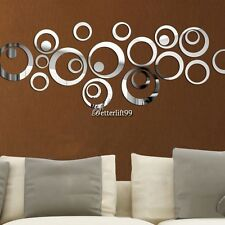 Circles Dots Melody Customized Silver Mirror Decoration Wall Sticker Home Decals