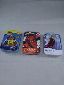 Lot Of Three Disney Mini Puzzles NIP! Frozen 2, Mickey Racers, & Spiderman