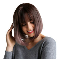 Realistic Heat Resistant Synthetic Full Head Hair Wigs Short Bob Wig w/Bangs