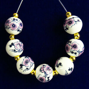 7Pcs/Set White Ceramics Purple Flower Round Ball Pendant Bead 10mm R55973