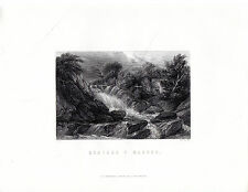 """Antiguo galés Impresiones - """"rhaiadr y Machno"""" - Radclyffe acero grabado (1872)"""