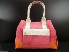Fossil Lena Tote Handbag Flamingo Pink and Orange Canvas + Zip Pouch New! NWT