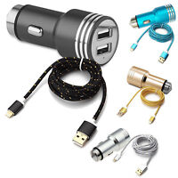 CHARGEUR VOITURE ALLUME CIGARE DOUBLE USB 3A + CABLE CHARGEUR IPHONE 5 6 7 8 X X