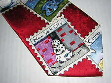 NWT AMERICAN GREETINGS * Red * 2005 Snowman Stamps Winter Travel Collection Tie