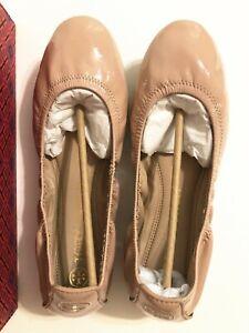 NIB Tory Burch Eddie Patent Ballet Soft Naplak Flats Shoes Goan Sand Pink Size 8