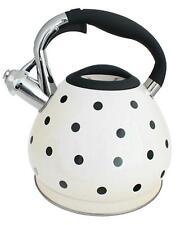 New White Polka Dot 3.5 Litre Stainless Steel Whistling Kettle Gas Electric Hobs