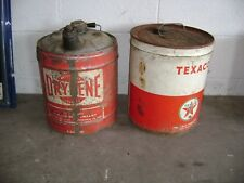 2 GAS STATION 5 GALLON OIL CANS/TEXACO AND A DIFFERENT DRYDENE CAN/2 FOR 1 PRICE