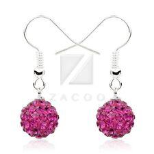 1 Pair Rhinestone Crystal 10mm Disco Ball Beads Dangle Earrings 37 Color Choose