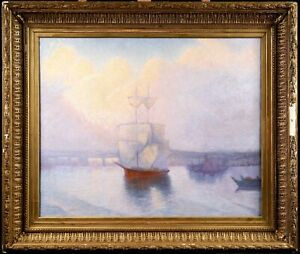 19th CENTURY HUGE FRENCH IMPRESSIONIST OIL ON CANVAS - BOATS IN HARBOUR SUNDOWN