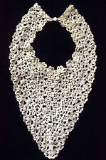 Rar 00004000 E Handmade Vintage Embroidered Lace With Pearls Neck Piece Estate Fresh!