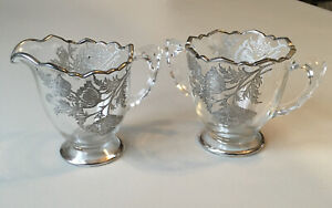 Antique Clear Glass Creamer & Sugar With Silver Edging & Overlay Designs