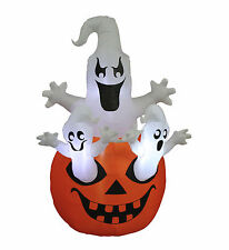 5 Foot Halloween Inflatable Yard Party Blowup Decoration Three Ghosts Pumpkin
