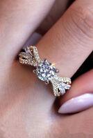 Fashion Women Jewelry 925 Silver White Topaz CZ Wedding Proposal Ring Size 6-10