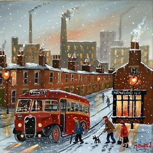 MAL.BURTON ORIGINAL OIL PAINTING. THE TOWN BUS NORTHERN ART DIRECT FROM ARTIST