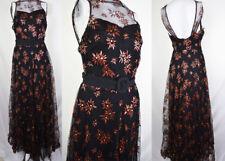 RARE 30s Metallic Floral Net Overlay Evening Dress Novelty Deco