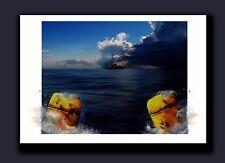 "Signed Jaws Movie Print ""2 Barrels"" Orca & Great White Shark Artist Tom Ryan"