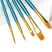 10x Nylon Hair Brush for Gouache Watercolor Oil Painting Brushes Art Paint Set H