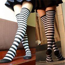 Women Girl Striped Thigh High Socks Striped Over Knee Leg Stockings Black+White