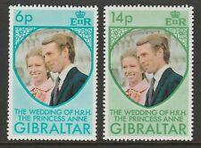 Gibraltar 1973 Royal Wedding set SG 323-324 Mnh.