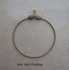 24 antiqued gold beading hoops findings jewelry making earrings necklaces 30mm