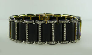 Chic BLACK ONYX 2.52 cts DIAMOND SILVER YELLOW GOLD BRACELET Art Deco Revival