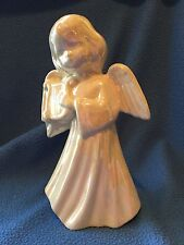 Hand Crafted Harp Angel with iridescent white glaze, Vintage