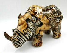 La Vie Glazed Patchwork Ceramic African Rhino Coin Bank Figurine (Jm-22567)