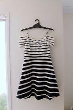 Portmans dress size 12 black white stripe pattern off the shoulder