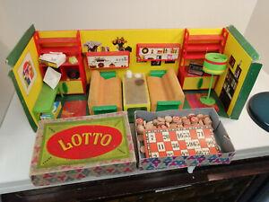 Modella Puppenmöbel 70er jahre original Wohnzimmer Vintage Rarität + Lotto Spiel