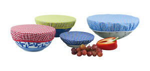 Eco Gingham Bowl Covers Plastic Free Living Food Storage Solutions Set of 3 or 4